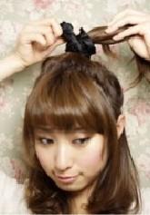 短发蓬松的丸子头花苞头扎法俏皮减龄发型-D新型图片头顶烫发女图片