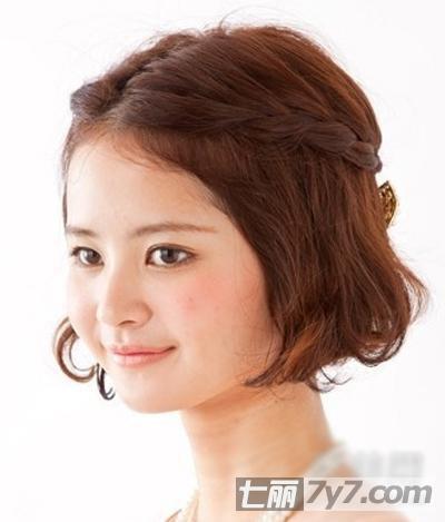 适合圆脸的短发编发图解 塑造可爱气质-短发发型-美容