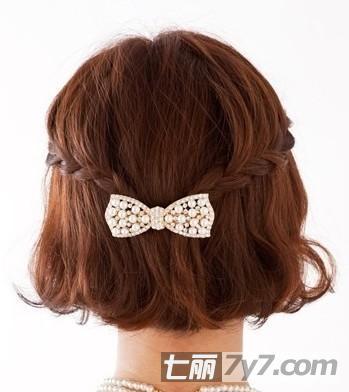 韩式短发编发扎法教程 简单显瘦可爱发型
