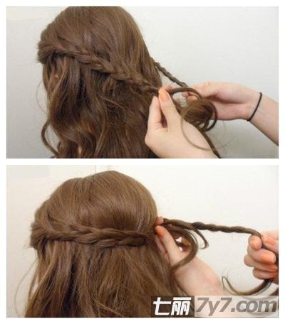 韩式创意简单长发编发 一分钟打造田园森女风-diy发型