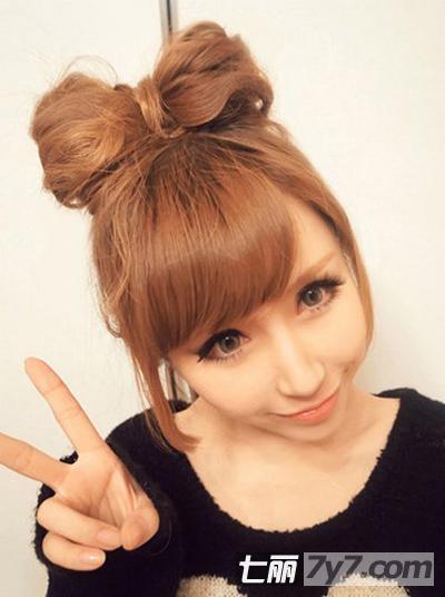 韩式可爱减龄蝴蝶结发型 萌系少女中长发发型扎法