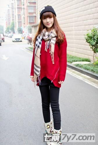 复古针织衫搭配围巾 矮个子女生层次混搭超显高