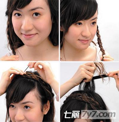 中长发简单花环编发教程 大圆脸女生冬季修颜发型