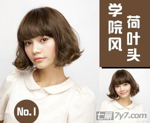 圆脸适合显瘦发型图片 推荐2014荷叶头短发烫发