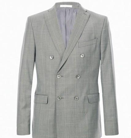 灰色細條紋雙排扣外套